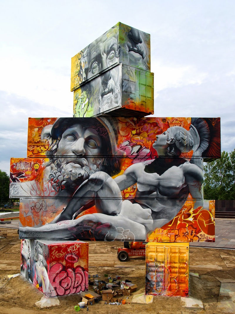 shipping container gods graffiti street art by pichi and avo north west walls belgium 2014 (5)