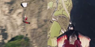 Skydiver and Wingsuit Pilot Pull Off Insane Flying CarpetStunt