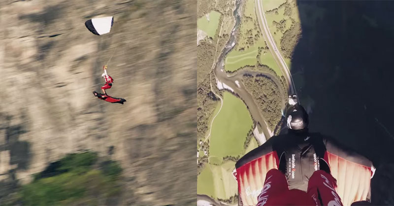 Skydiver and Wingsuit Pilot Pull Off Insane Flying Carpet Stunt
