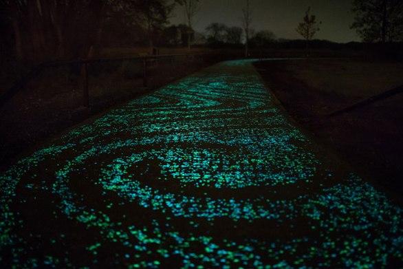 van gogh-roosegaarde glow in the dark bicycle path eindhoven netherlands (3)