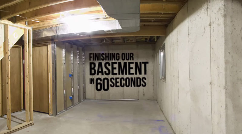 Basement Reno Timelapse: Unfinished to Finished in 60 Seconds