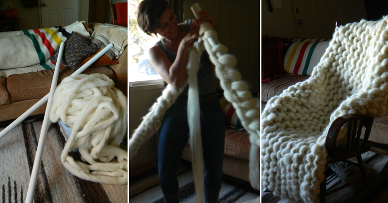 Artist Uses PVC Pipes to Knit a Giant Blanket