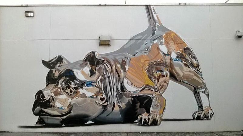 chrome dog mural by bikismo art basel miami 2014 (1)