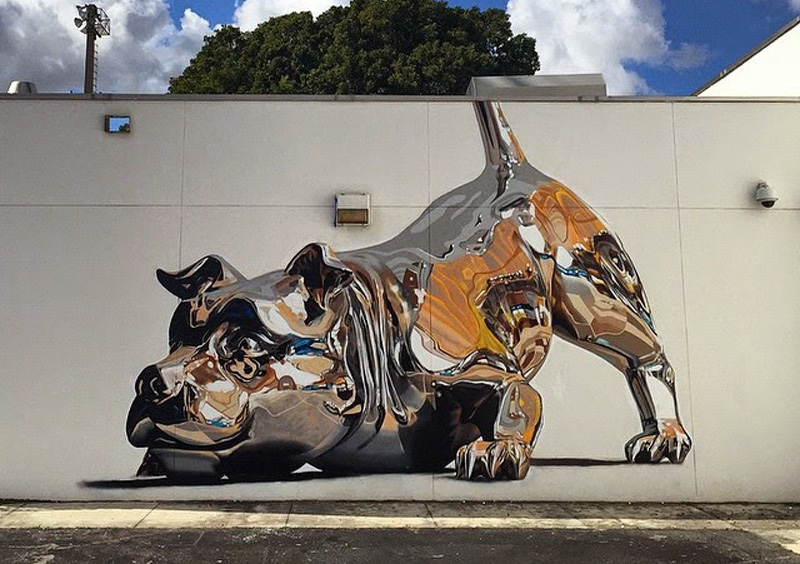 Jaw-Dropping Chrome Dog Mural is 100% Spray Paint