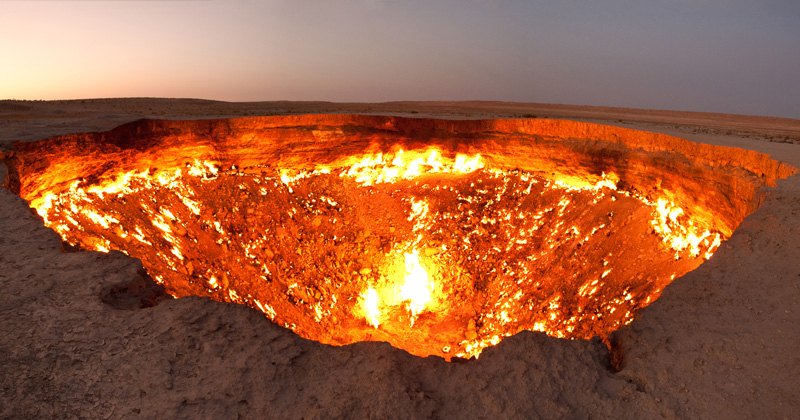 There's a 225 ft Gas Crater in Turkmenistan That's Been Burning Since1971