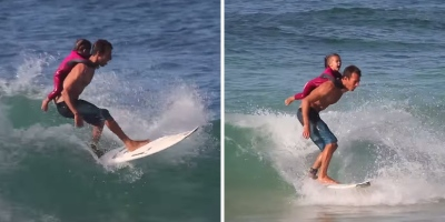 Father and Daughter Go for Cutest Surf Ride Ever
