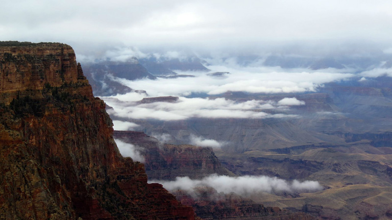 grand canyon filled with clouds inversion 2014 (2)