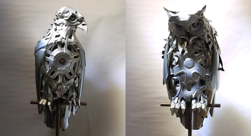 Artist Turns Old Hubcaps Into Awesome Animal Sculptures