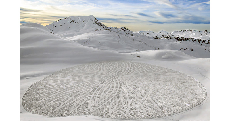 Artist Uses Compass, String and Measuring Tape to Create Amazing Snowshoe Art