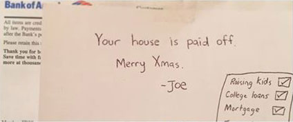 son pays off parents mortgage for christmas Son Brings Parents to Tears, Pays Off Their Mortgage for Christmas