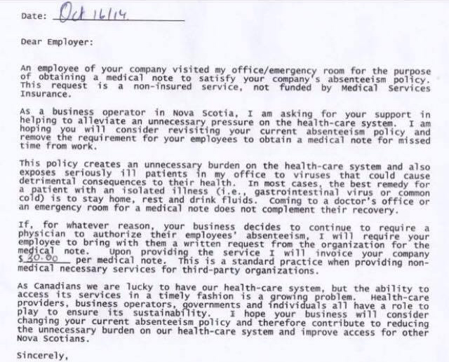 This Canadian Doctor'S Reply To A Company'S Medical Note Policy Is