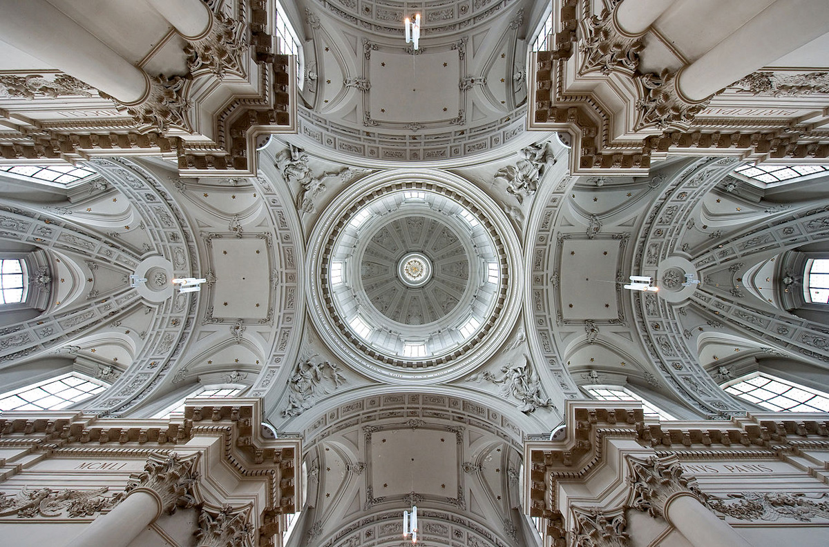 vaulted ceilings and dome of st aubin's cathedral belgium