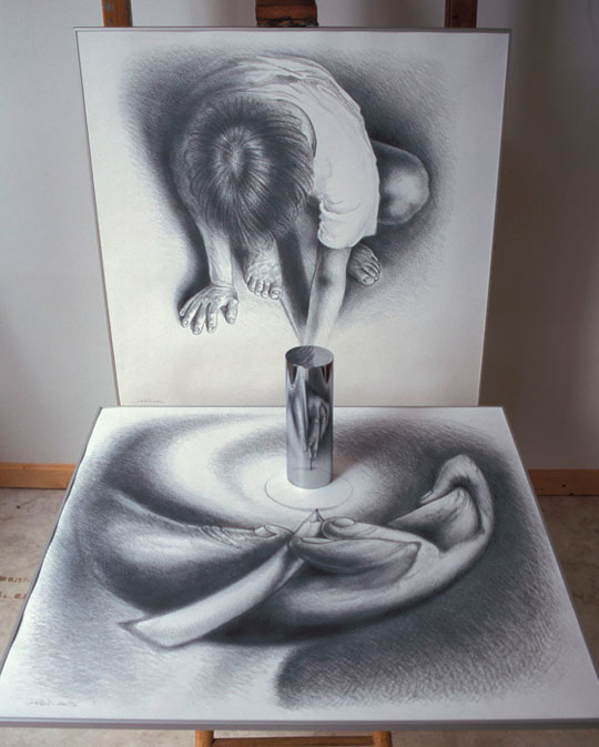 These Artworks Come To Life When You Place A Mirror On It - Anamorphic art looks real