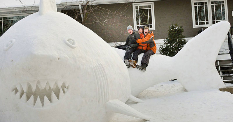 Every Year These Brothers Make a Giant Snow Sculpture on their Front Lawn (3)