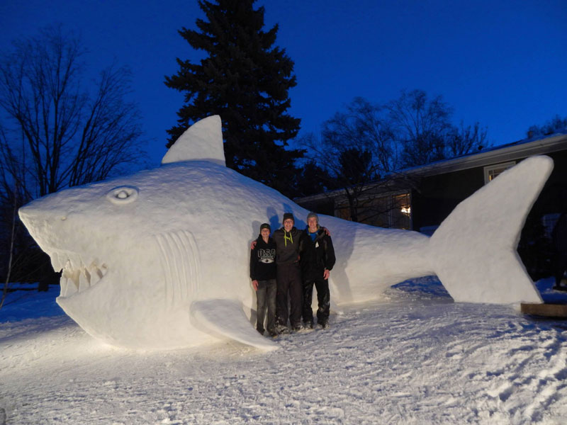 Every Year These Brothers Make a Giant Snow Sculpture on their Front Lawn (5)