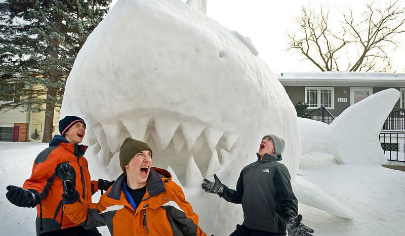 Every Year These Brothers Make a Giant Snow Sculpture on their Front Lawn (6)