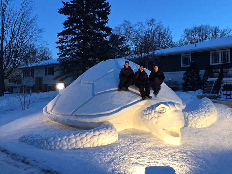 Every Year These Brothers Make a Giant Snow Sculpture on their Front Lawn (7)