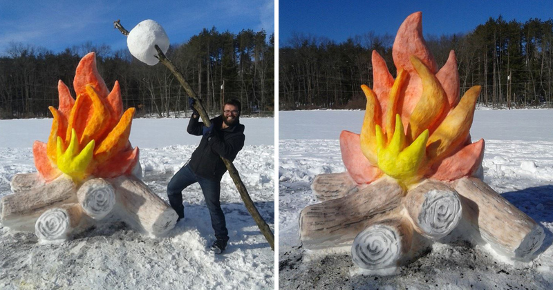 artist makes giant fire and marshmallow out of snow twistedsifter. Black Bedroom Furniture Sets. Home Design Ideas