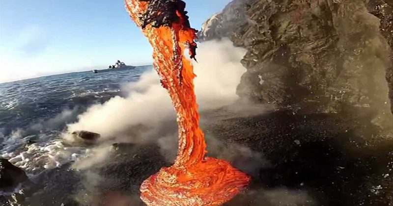 Extremely Close-Up Footage of Lava Spilling IntoWater