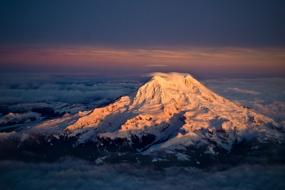 mt-rainier-from-above at sunset