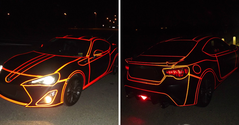 Guy Makes Tron Car Using Reflective Vinyl Tape «TwistedSifter