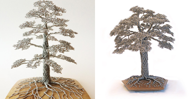 Wire Tree Sculptures by Clive Maddison