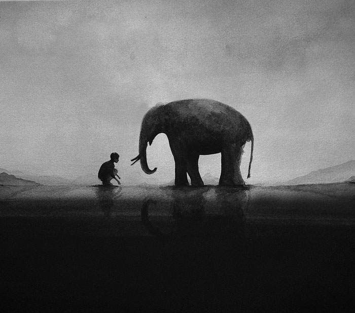 Ethereal black and white watercolor paintings by elicia - Blanco y negro paint ...