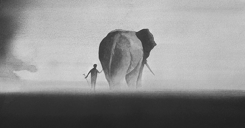 Ethereal Black and White Watercolor Paintings by EliciaEdijanto