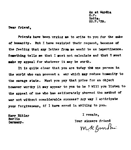 gandhi letter to hitler 20 amazing letters worth reading dear friend