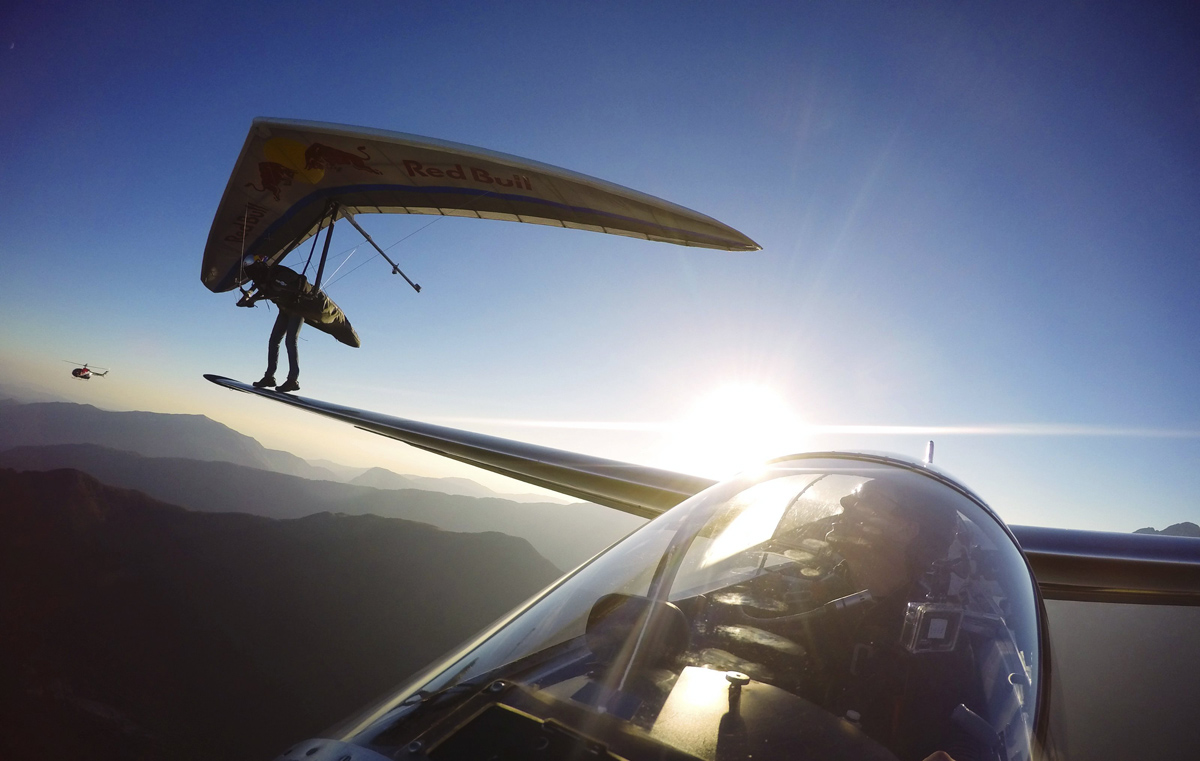 picture of the day hang glider lands on sail plane s wing