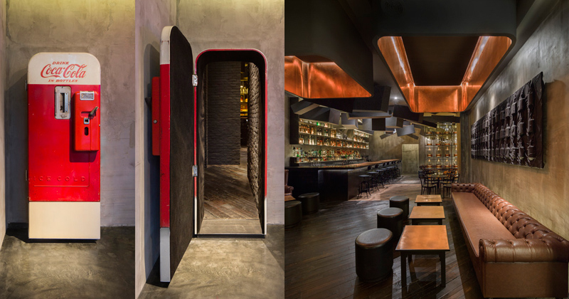 speakeasy bar hidden behind old coke machine shanghai A Clever Hotel Room Loft Designed for Longer Stays