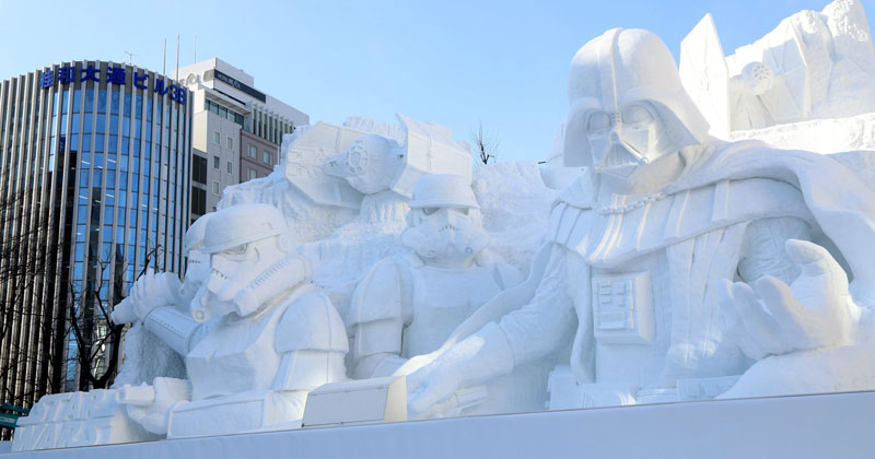 Japanese Army Brigade Builds 50 ft Vader Out of Snow