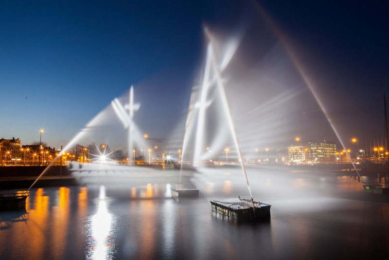 Artists Recreate the Flying Dutchman Ghost Ship with Water and Light
