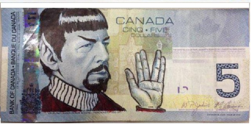 Canadians Pay Nimoy Tribute by Drawing Spock on $5Bills