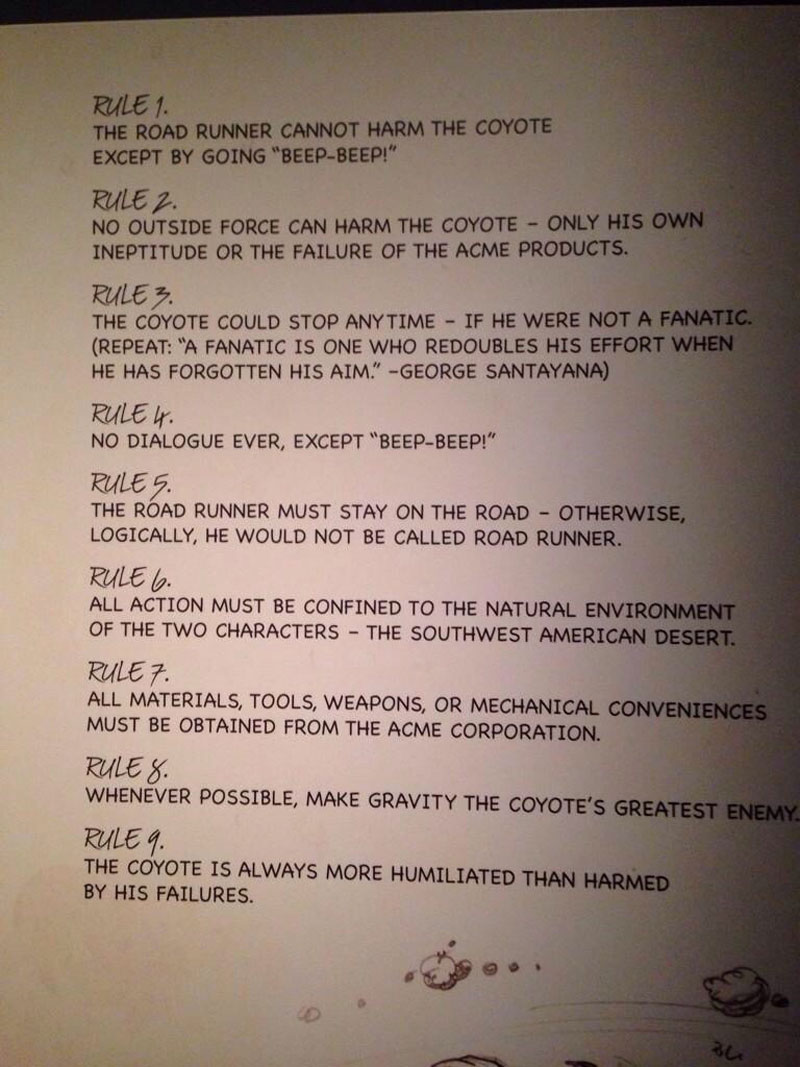 chuck jones 9 rules of the road runner and wile e coyote Chuck Jones 9 Golden Rules for the Coyote and the Road Runner