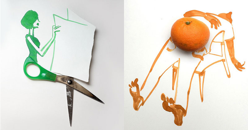 16 Creative Sketches That Incorporate Everyday Objects