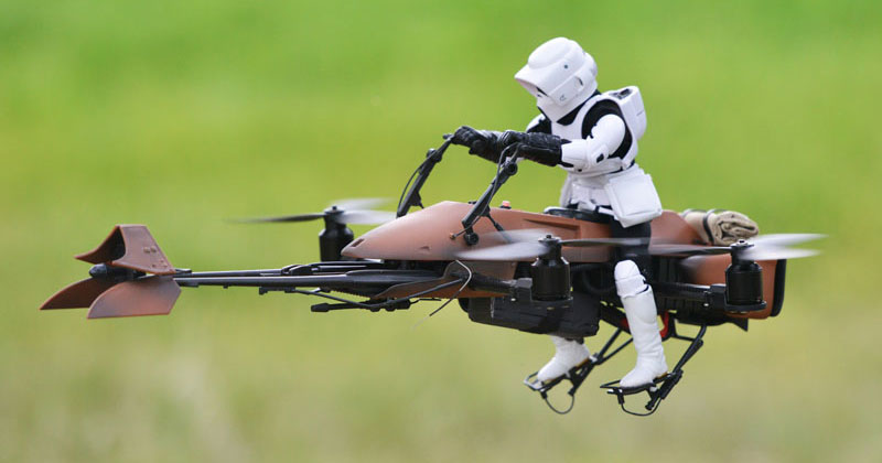 Builder Turns Old Star Wars Speeder Bike Into Actual FlyingQuadcopter