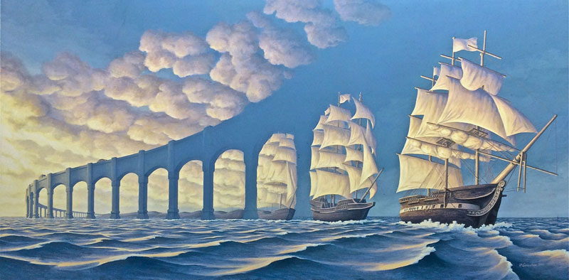 surreal optical illusion paintings by rob gonsalves 9 Jane Long Colorizes Old Photos and Adds a Surreal Twist to Them