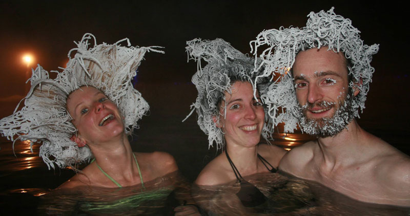 This Canadian Hot Spring has a Hair Freezing Contest EveryWinter