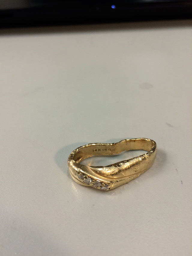 Wedding Ring Restoration Afer Falling Into a Garbage Dispoal (2)