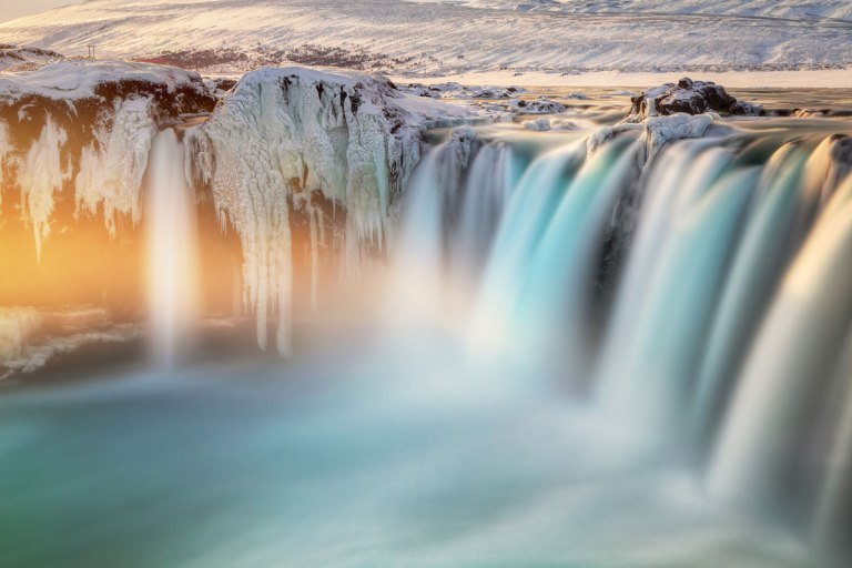 Last-Light-on-Godafoss,-Iceland