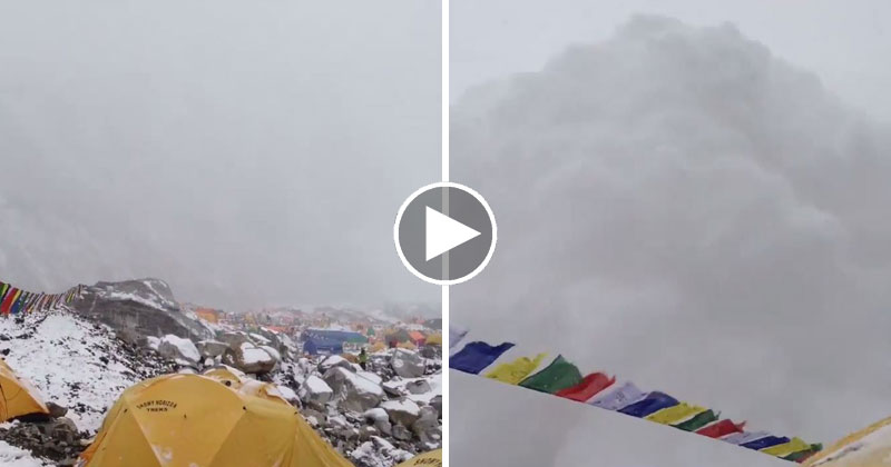 Climber at Everest Base Camp Captures Avalanche Triggered by Saturday's Deadly Earthquake