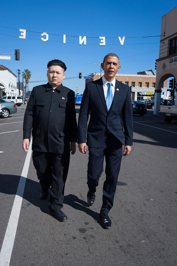 Barack Obama and Kim Jong Un Impersonators Meet in LA (1)