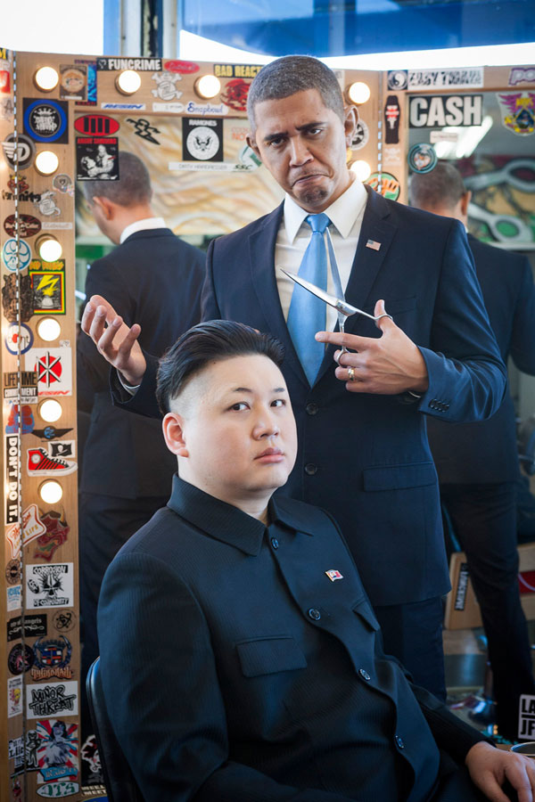 Barack Obama and Kim Jong Un Impersonators Meet in LA (2)