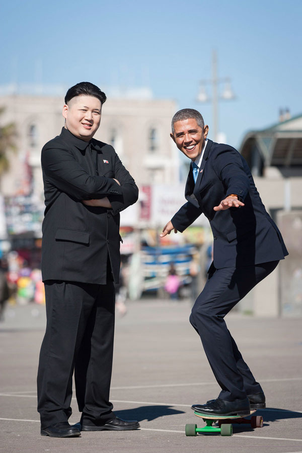 Barack Obama and Kim Jong Un Impersonators Meet in LA (4)