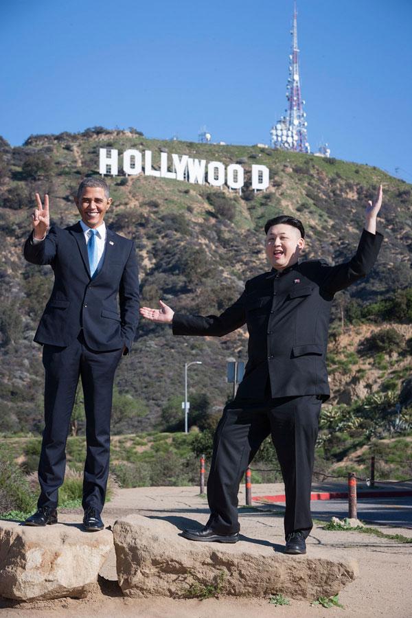 Barack Obama and Kim Jong Un Impersonators Meet in LA (6)