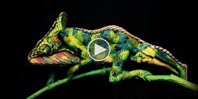 This Chameleon is Actually Two Body Painted Women