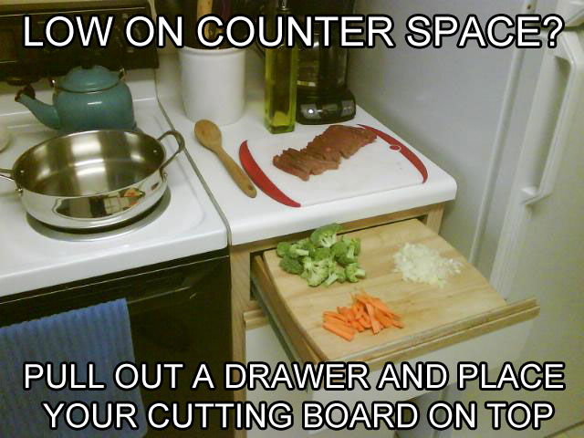 create more counter space life hack The 55 Most Useful Life Hacks Ever