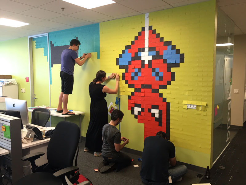 Employee Uses Post-Its to Turn Drab Office Walls Into Giant Superhero Murals (11)