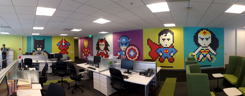 Employee Uses Post-Its to Turn Drab Office Walls Into Giant Superhero Murals (12)